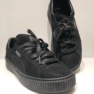 Puma Basket Black Sneakers Women's Sz 8